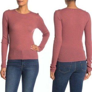 Vince Fine Knit Wool Rib Crew Neck Fitted  Sweater